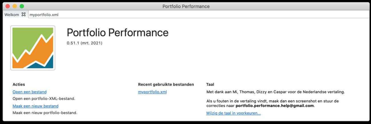 Portfolio performance beginscherm