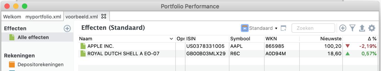 Aandelen in de effectenlijst van Portfolio Performance