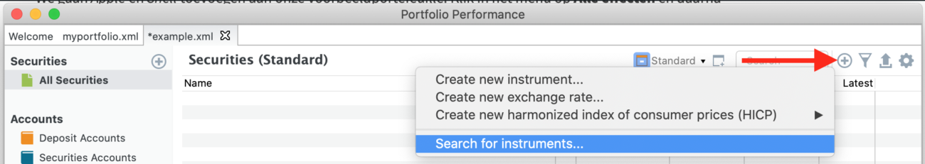 Adding instruments to your securities