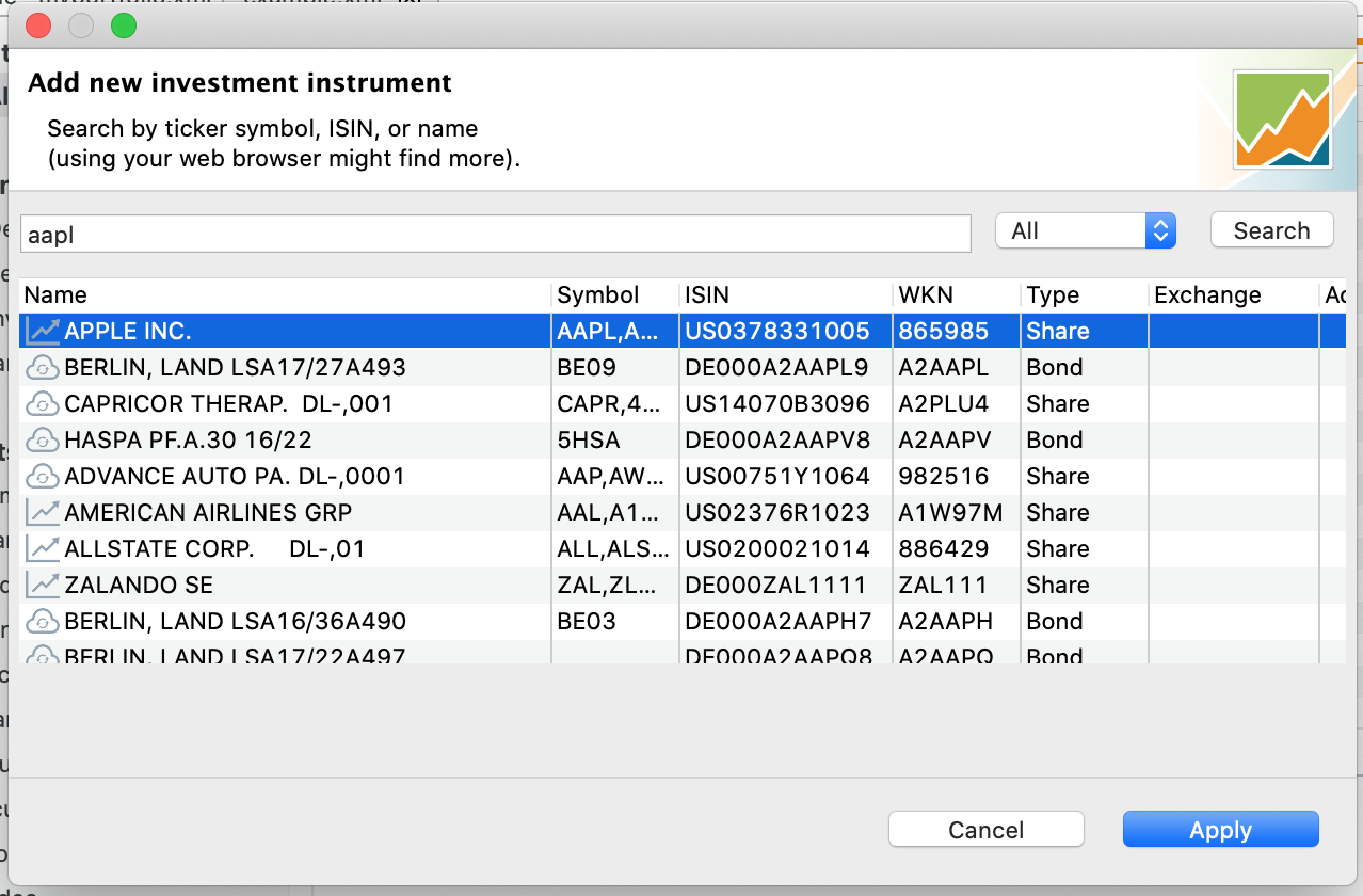Searching for instruments using a ticker